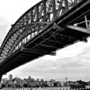 Spanning Sydney Harbour - Black And White Art Print