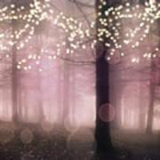 Sparkling Fantasy Fairytale Trees Nature Pink Woodlands - Sparkling Lights Bokeh Fantasy Trees Art Print