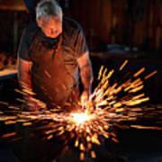 Sparks When Blacksmith Hit Hot Iron Art Print
