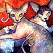 Sphynx Cats Sphinx Family Painting  Art Print