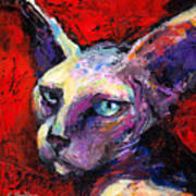 Sphynx Sphinx Cat Painting  Art Print