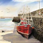 Spiddal Harbour Art Print by Vanda Luddy