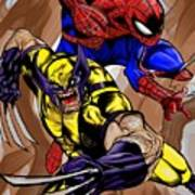 Spider And The Wolverine Art Print