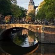 Spiegelgracht Canal In Amsterdam. Netherlands. Europe Art Print