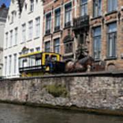 Spieglerei Canal In Bruges Belgium Art Print