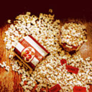 Spilt Tubs Of Popcorn And Movie Tickets Art Print