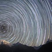 Spinning Stars Above Himalayas Art Print by Anton Jankovoy