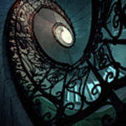 Spiral Ornamented Staircase In Blue And Green Tones Art Print