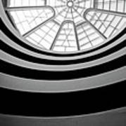 Spiral Staircase And Ceiling Inside The Guggenheim Print by Sami Sarkis