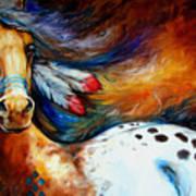 Spirit Indian Warrior Pony Art Print by Marcia Baldwin
