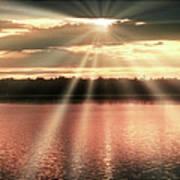 Spiritual Sunset Above A Mountain Lake Art Print