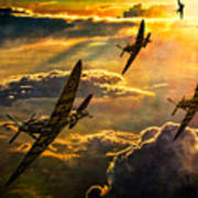 Spitfire Attack Print by Chris Lord