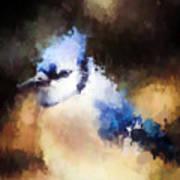 Splatter Art - Blue Jay Art Print