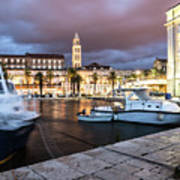 Split Harbor Night View In Croatia Art Print