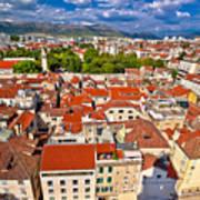 Split Old City Center Aerial View Art Print