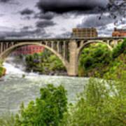 Spokane Falls And Monroe Bridge Art Print