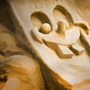 Sponge Bob Blue Water Sand Sculpture Art Print