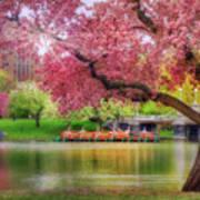 Spring Afternoon In The Boston Public Garden - Boston Swan Boats Art Print