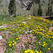 Spring Dandelion And Mountain Landscape Art Print