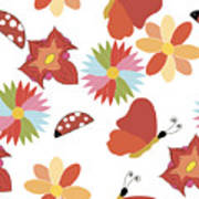 Spring Flowers Pattern Art Print