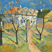 Spring  Garden In Bloom My Reproduction Of Malevichs Work Art Print