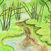 Spring Landscape, Watercolours Art Print