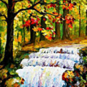 Spring Stream - Palette Knife Oil Painting On Canvas By Leonid Afremov Art Print