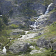 Spring Waterfall In The Tetons Art Print