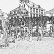 Square In Copenhagen At Nyhavn Art Print