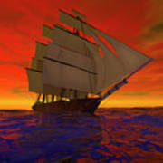 Square-rigged Ship At Sunset Art Print