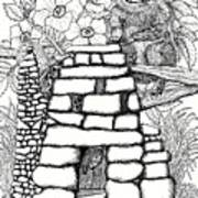 Square Rock Fairy House And Squirrel Art Print