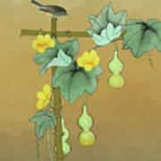 Squash Vine And Bamboo Art Print