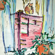 Squirrel On Fence Art Print