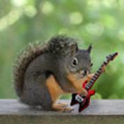Squirrel Playing Electric Guitar Art Print