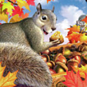 Squirrel Treasure Art Print