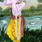 The Divine Flute Player, Sri Krishna Art Print