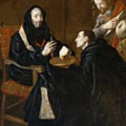 St Benedict Blesses The Bread Art Print