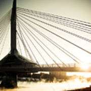 St. Boniface Bridge At Winter Sunrise Print by Michael Knight