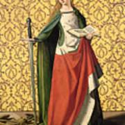 St. Catherine Of Alexandria Print by Josse Lieferinxe