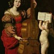 St. Cecilia With An Angel Holding A Musical Score Art Print by Domenichino