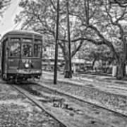 St. Charles Streetcar Monochrome Art Print