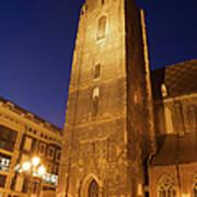 St. Elizabeth's Church Tower At Night In Wroclaw Art Print