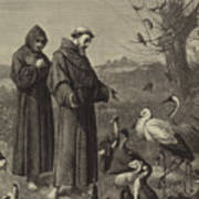 St Francis Preaches To The Birds  Art Print
