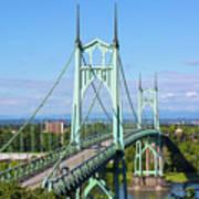 St Johns Bridge Over Willamette River Art Print