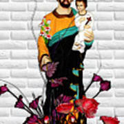 St Joseph Holding Baby Jesus - Catholic Church Qibao China Art Print