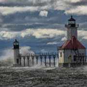 Big Waves - St. Joseph Lighthouse Art Print