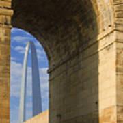 St Louis Arch And Eads Bridge   Art Print
