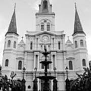 St Louis Cathedral And Fountain Jackson Square French Quarter New Orleans Black And White Art Print