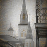 St. Louis Cathedral From Chartres St. - Nola Art Print
