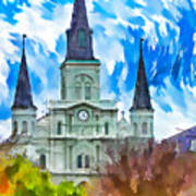 St. Louis Cathedral - Paint Art Print